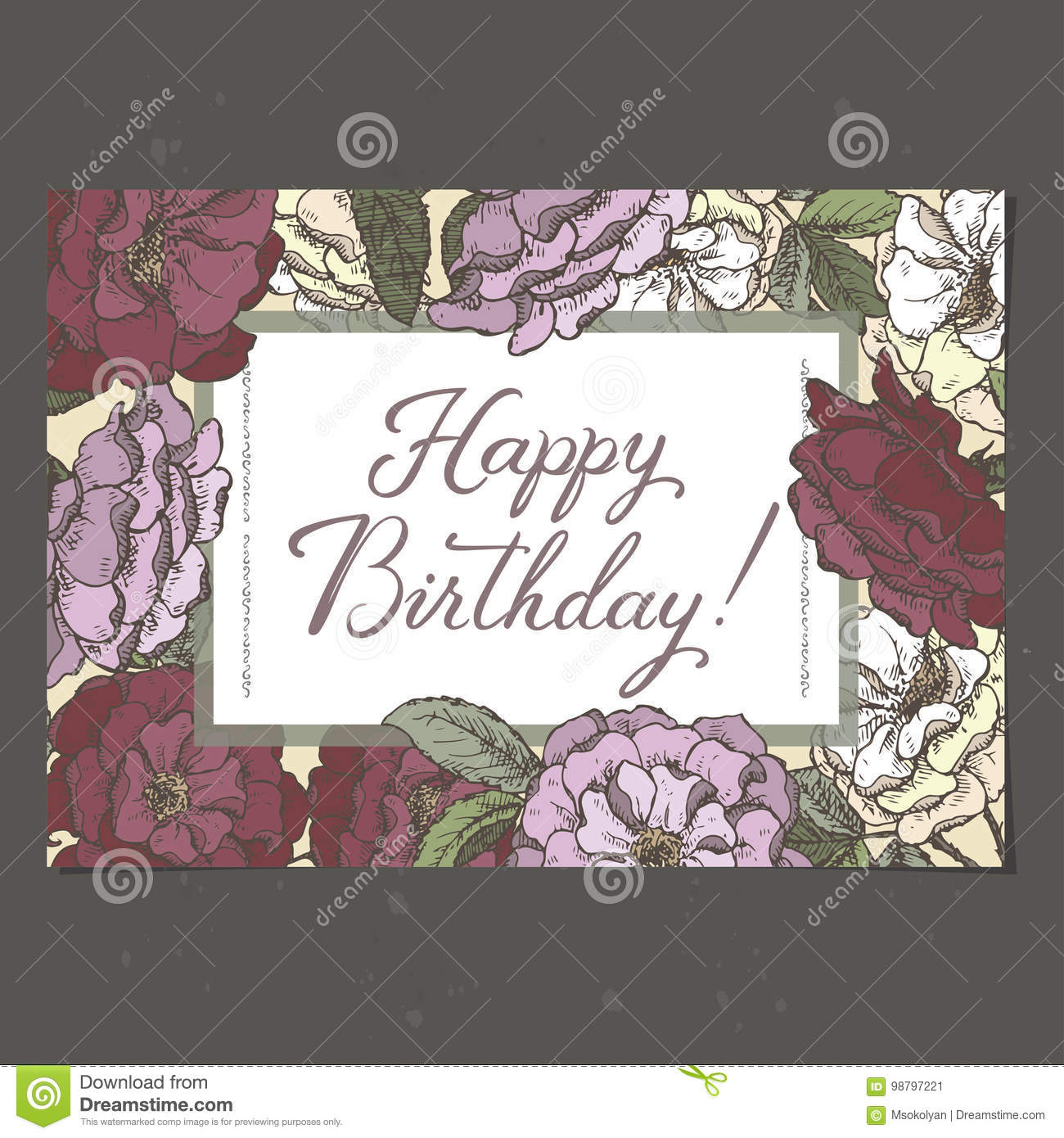 Landscape A4 Format Romantic Birthday Card Template With Calligraphy And Roses Sketch