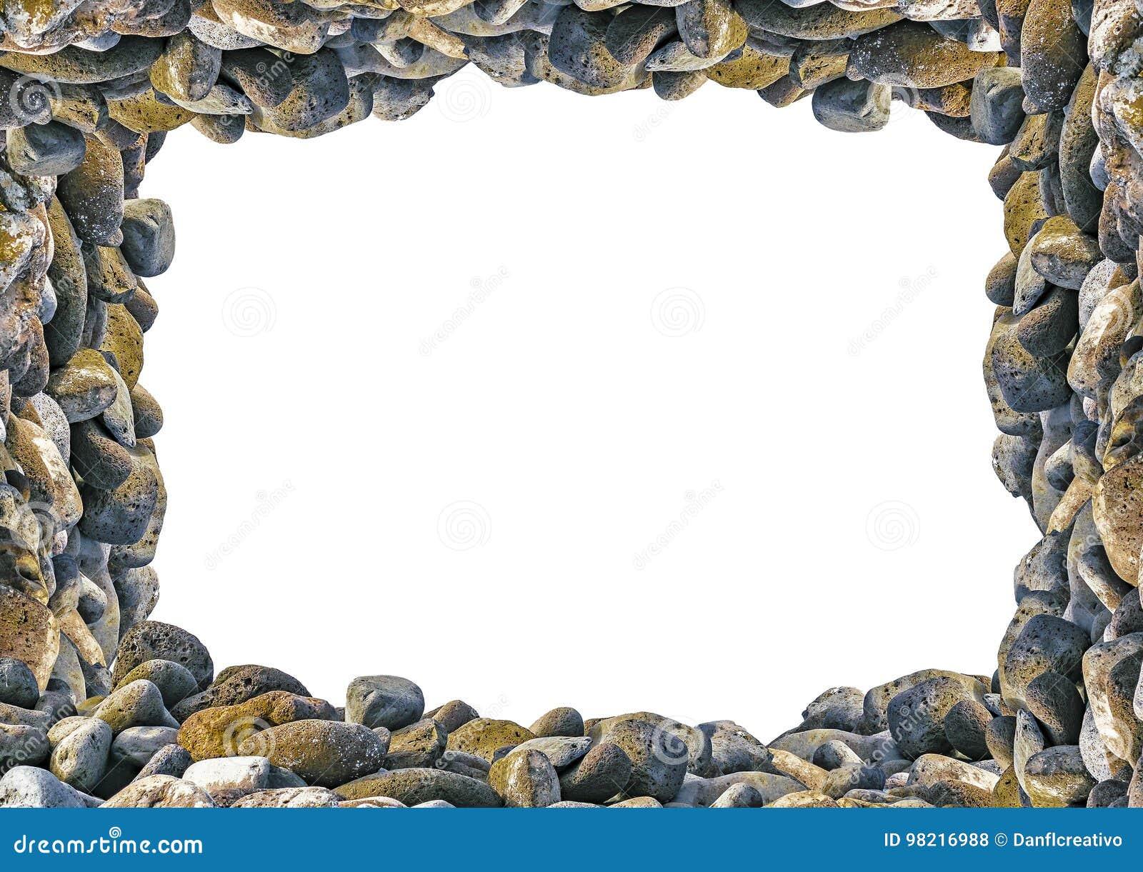 Landscape Frame With Rocks Borders Stock Photo - Image of invitation ...