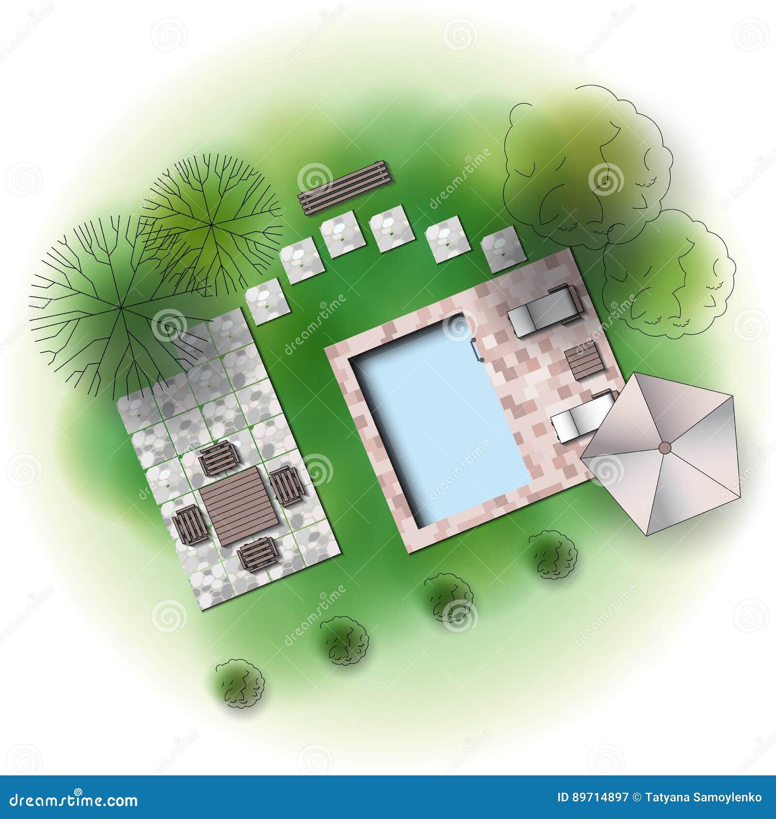 Landscape Garden Design Stock Vector Illustration Of Landscape