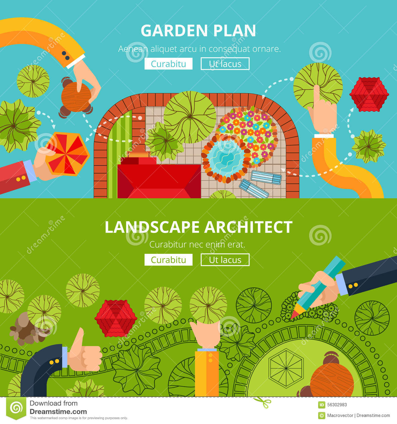 Landscape garden design concept poster stock vector for Design your landscape