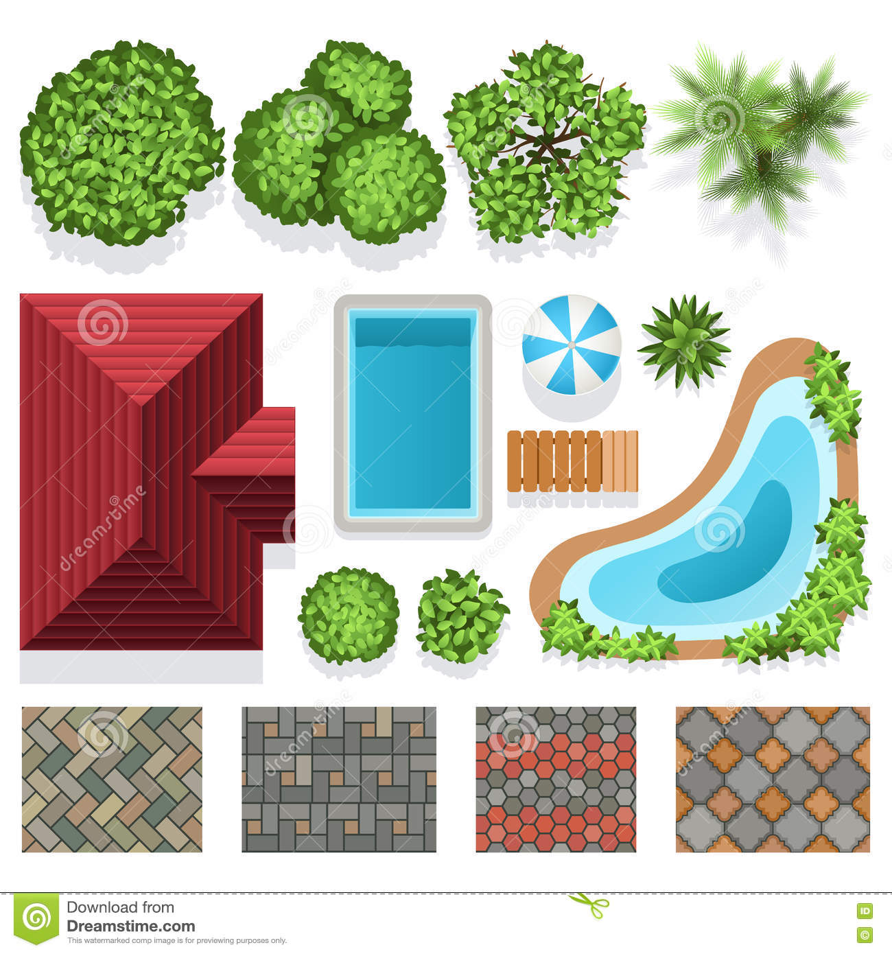 landscape garden design vector elements top view stock