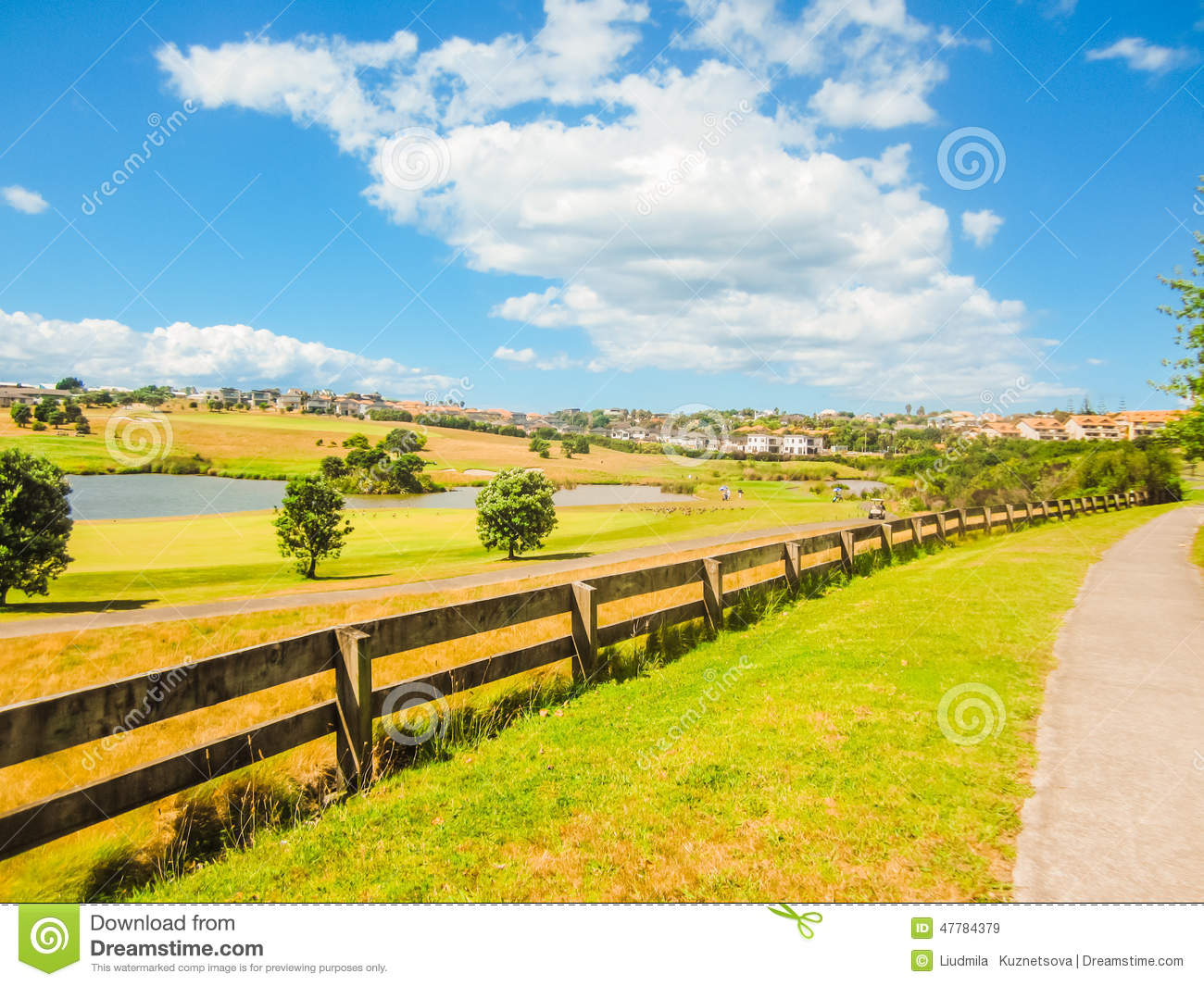 Landscape with golf course stock image image of golfers for Landscaping courses nz