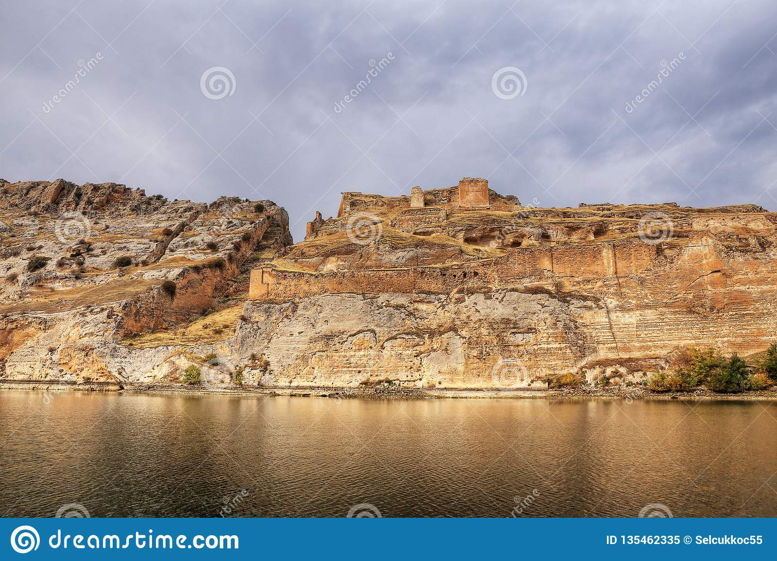 Landscape Of Halfeti In The Foreground Euphrates River And