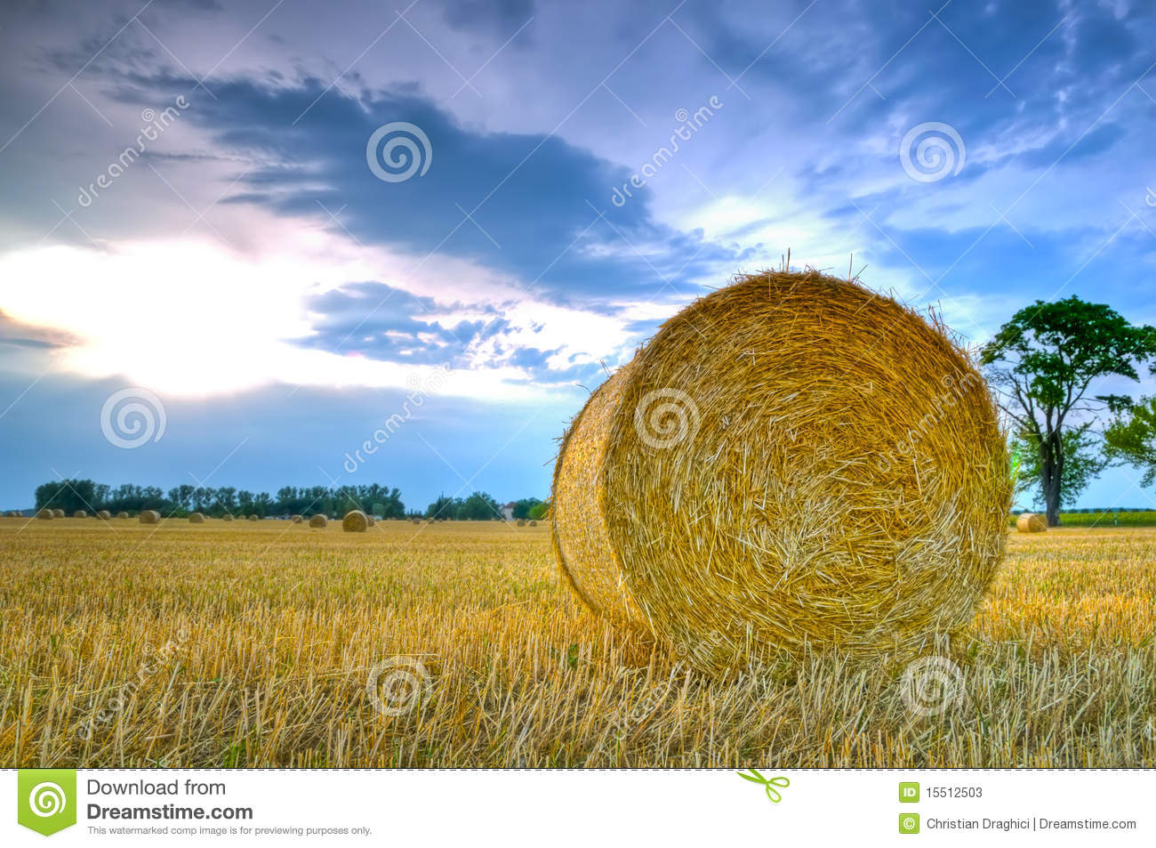 Download Landscape with hay roll stock image. Image of landscape - 15512503