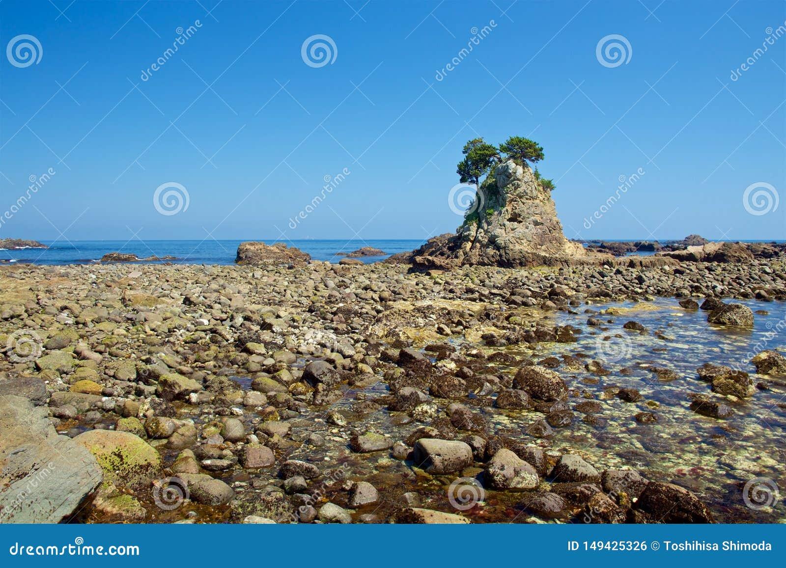 Landscape of the high tides of the minokake-rocks at izu.