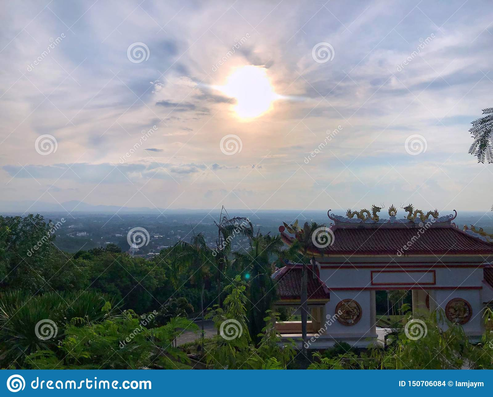 Vector illustration, funny Monkey chimpanzeeLandscape from high view with blue sky