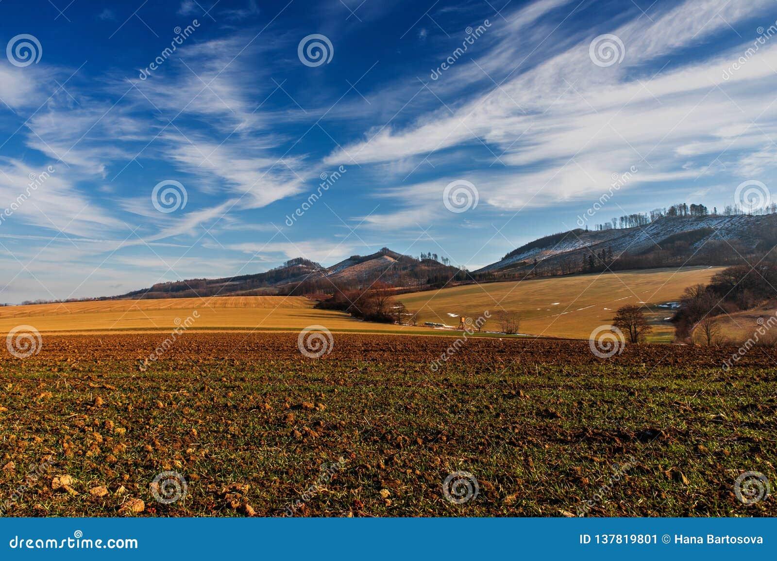 Landscape with hills and fields near Podhradni Lhota, Czech republic