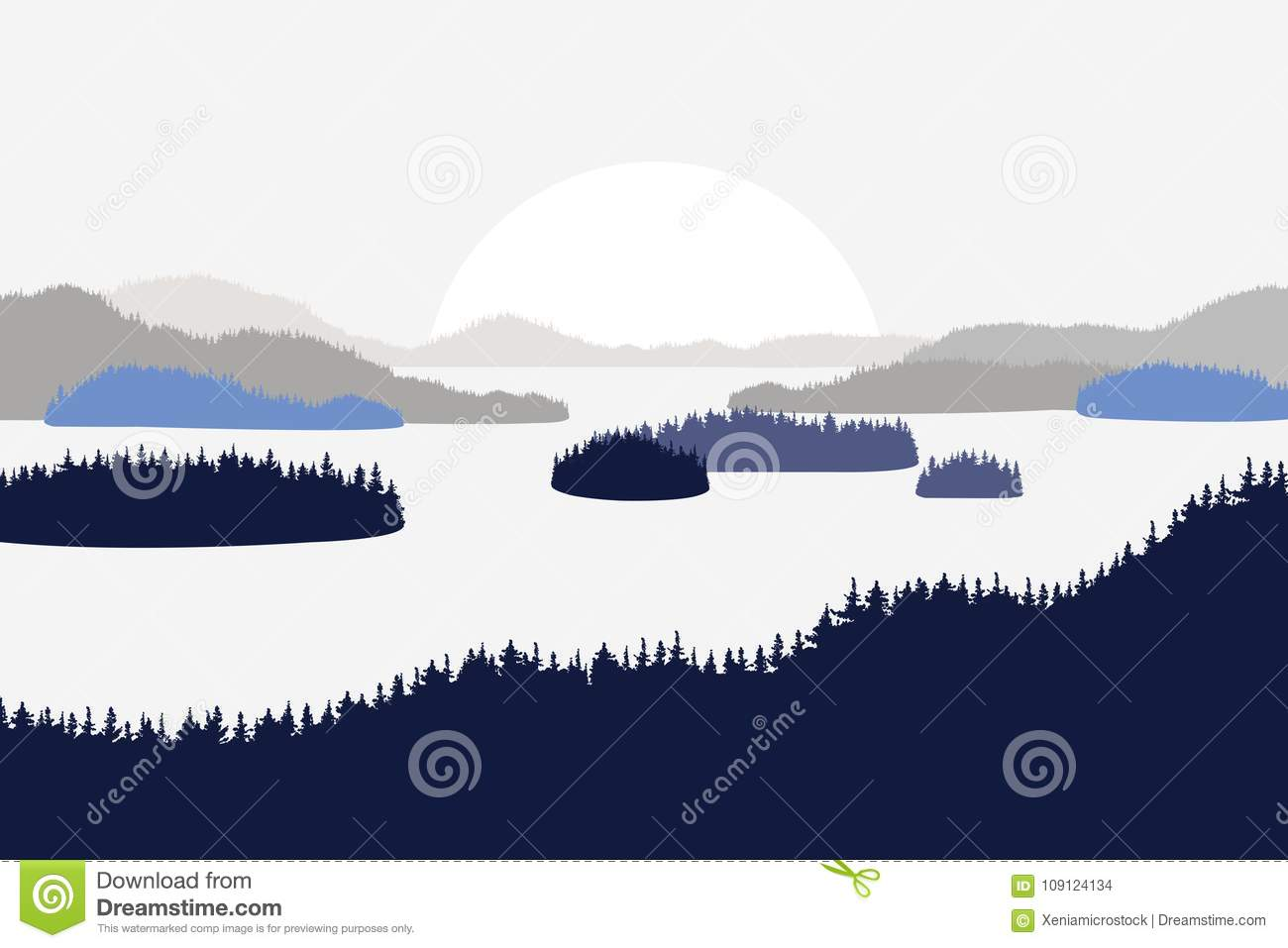 Landscape with hills mountains lakes rivers. Firs in the foreground. Flat style.