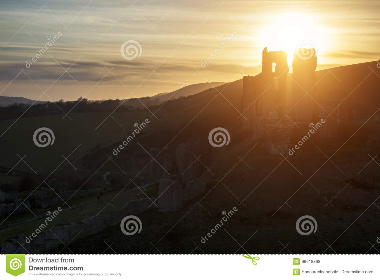Landscape image of beautiful fairytale castle ruins during beaut