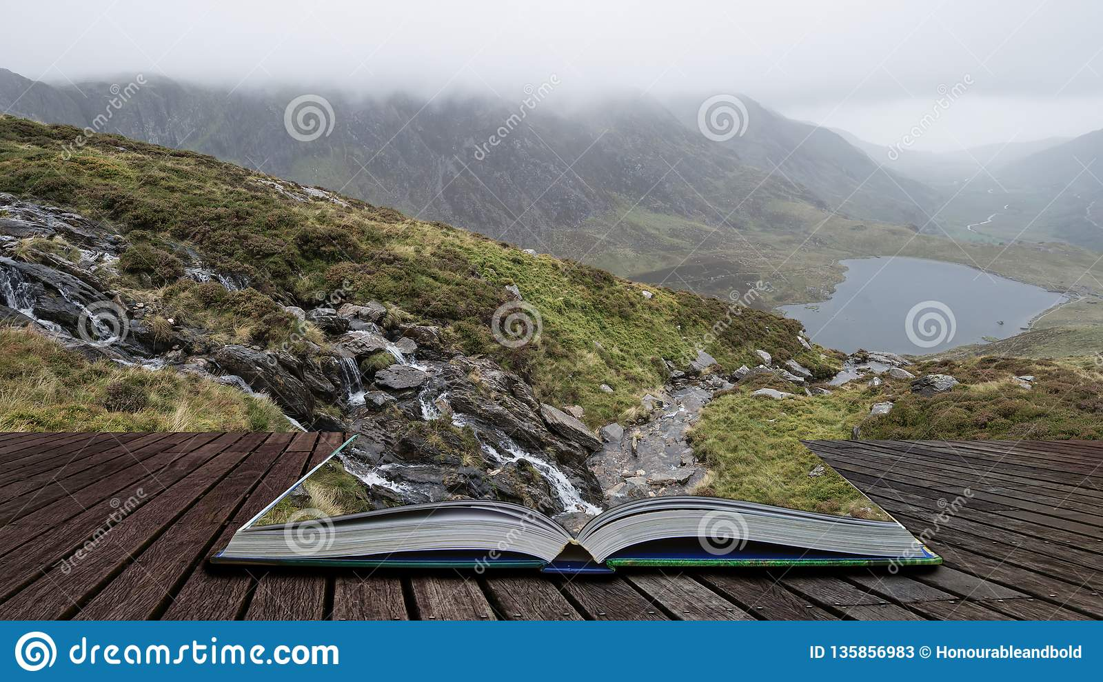 Landscape image of Llyn Idwal in Glyders mountain range in Snowdonia during heavy rainfall in Autumn coming out of pages of open