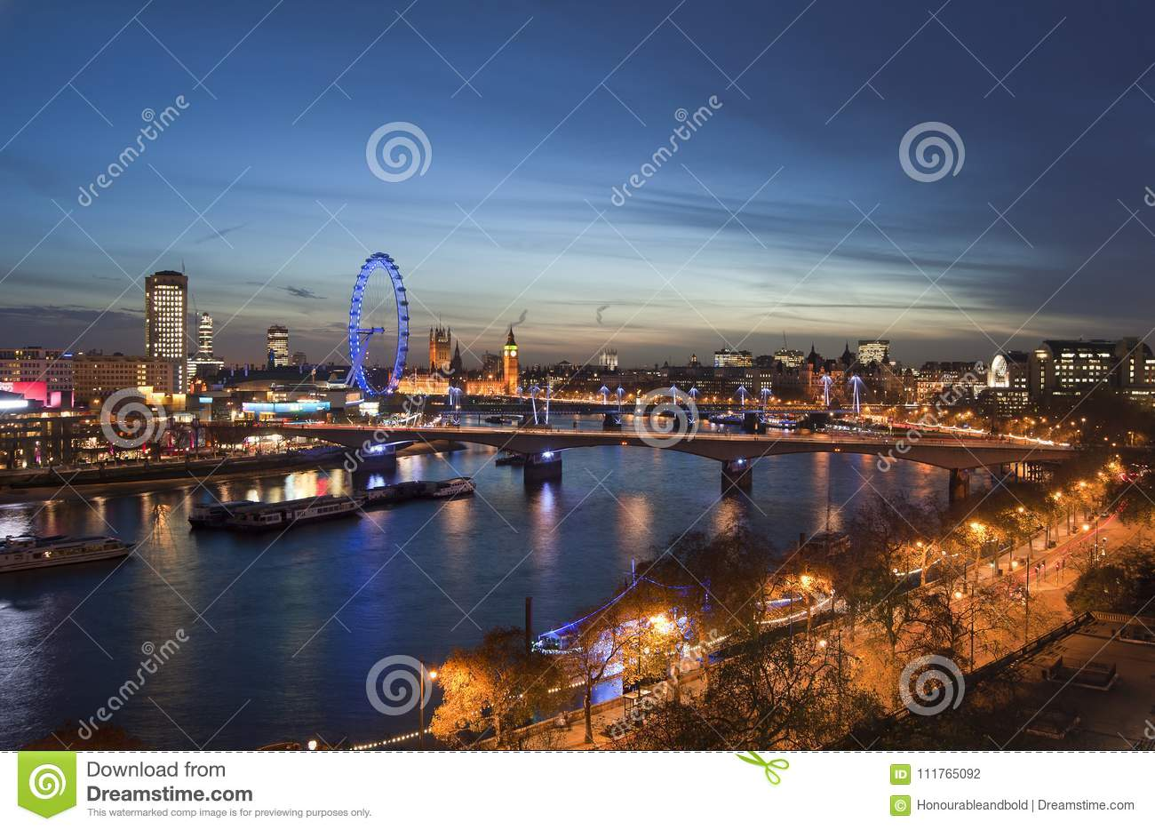 Beautiful landscape image of the London skyline at night looking