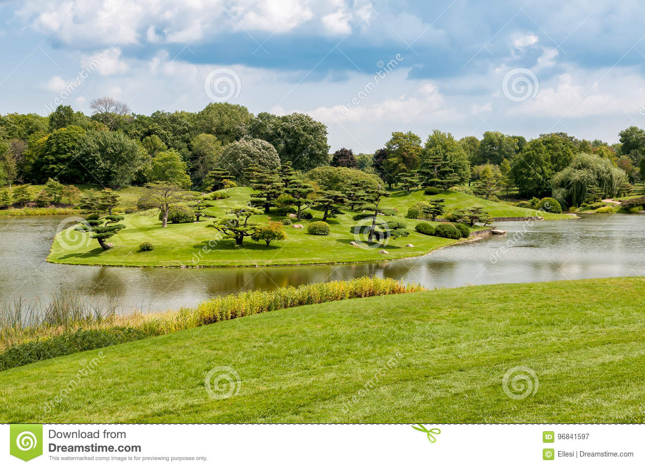 Summer Landscape on sunny day of Japanese Island in Chicago Botanic Garden.