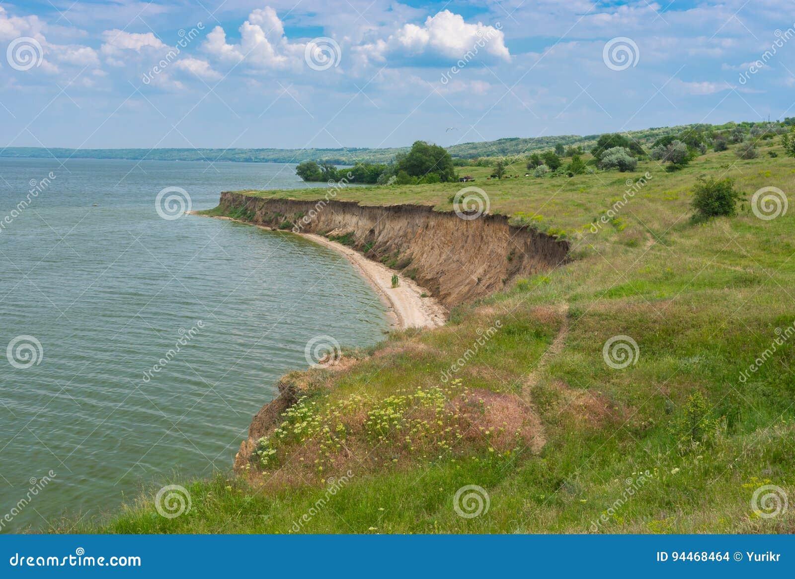 Landscape with Kakhovka Reservoir located on the Dnepr River, Ukraine