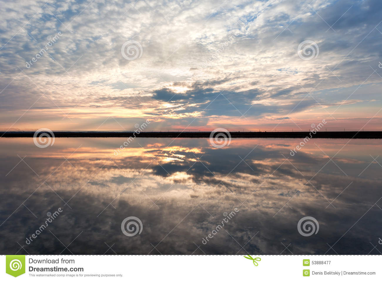 Download Landscape With Lake Reflection Clouds. Beautiful Summer Sunset Stock Image - Image of orange, coast: 53888477