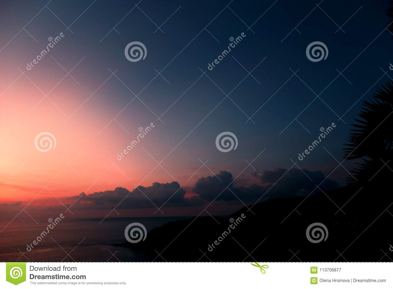 Landscape of light, sky and clouds in evening, blue and pink sunset near Adaman Sea horizon
