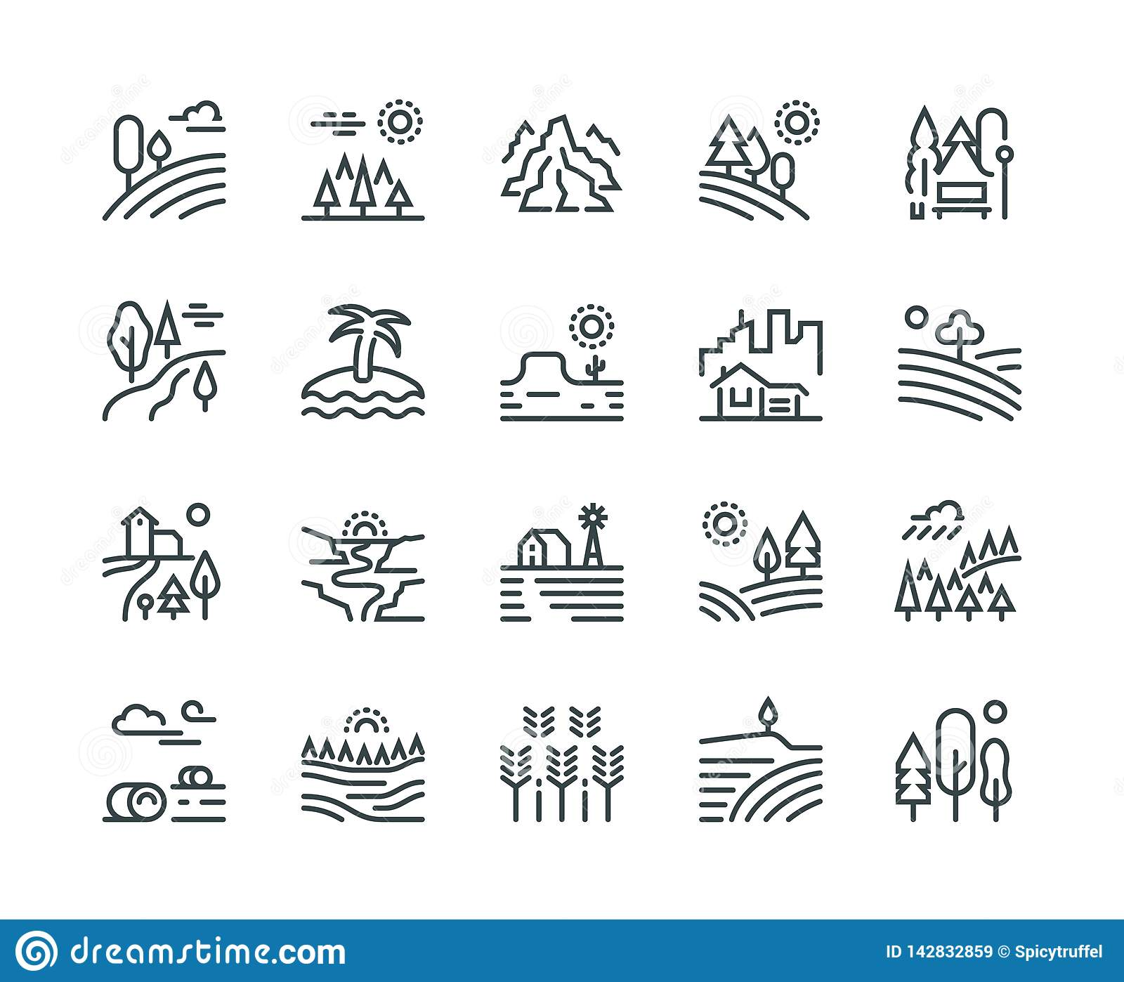 Landscape line icons. Nature park mountain hill forest trees and countryside garden, industrial megapolis cityscape