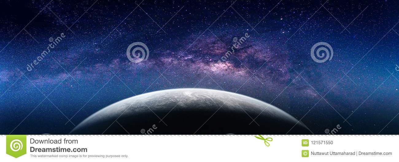 Landscape with Milky way galaxy. Earth view from space with Milk