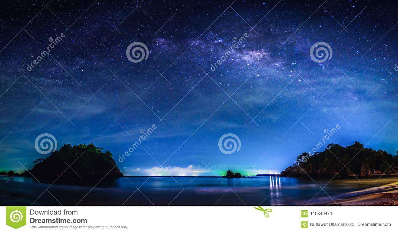 Landscape with Milky way galaxy. Night sky with stars and milky