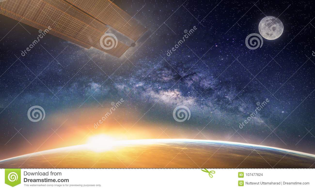 Landscape with Milky way galaxy. Sunrise, Earth, moon