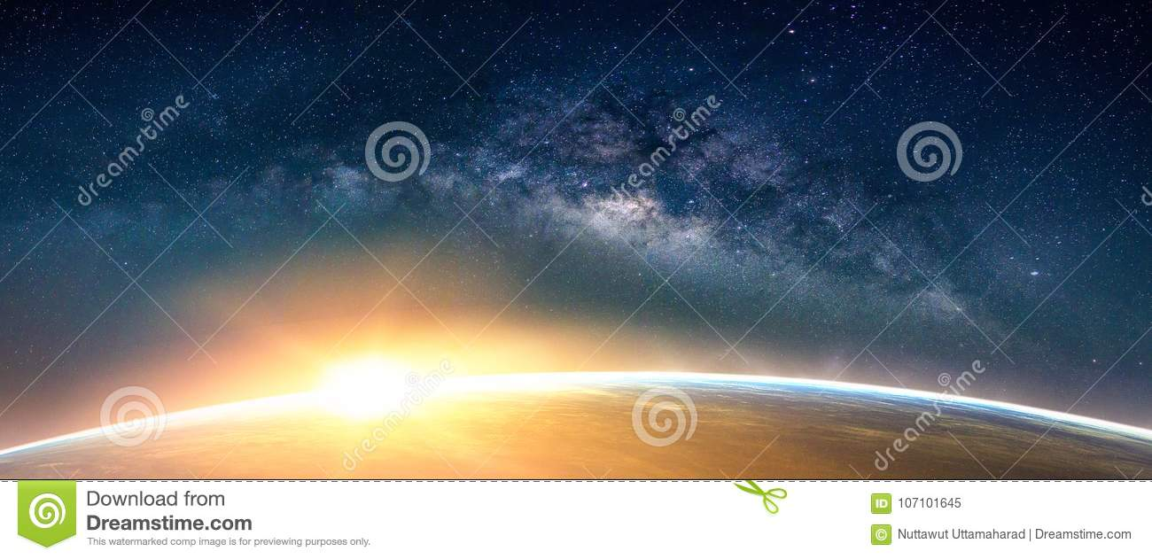Landscape with Milky way galaxy. Sunrise and Earth view from spa