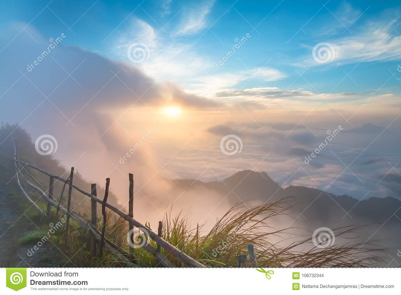 Beautiful Landscape and the Mist in the Morning in Thailand