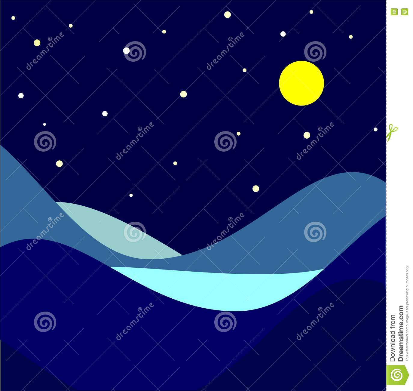 Moonlight and stars over landscape