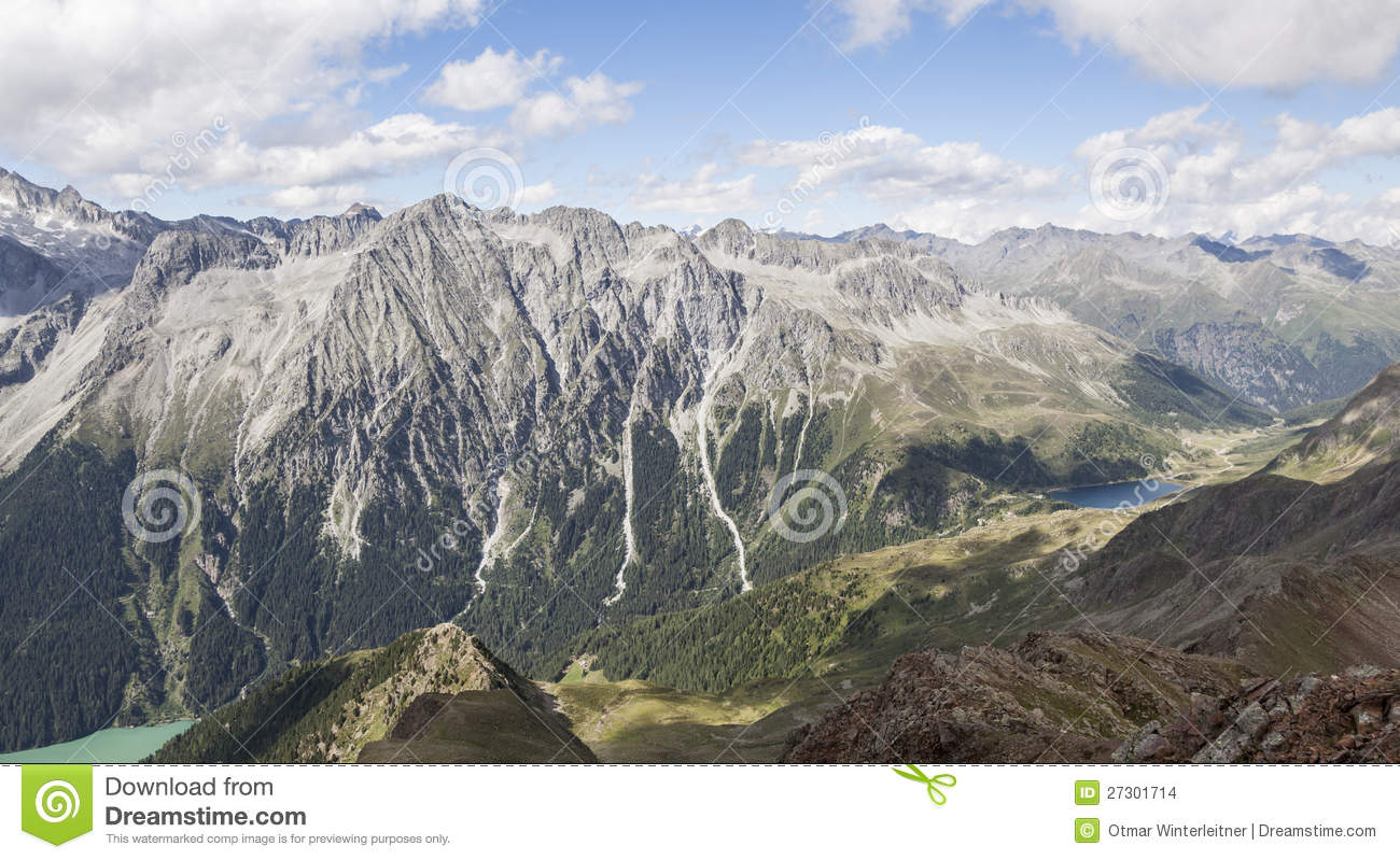 Landscape of mountain peaks, valley,lakes in Alps.