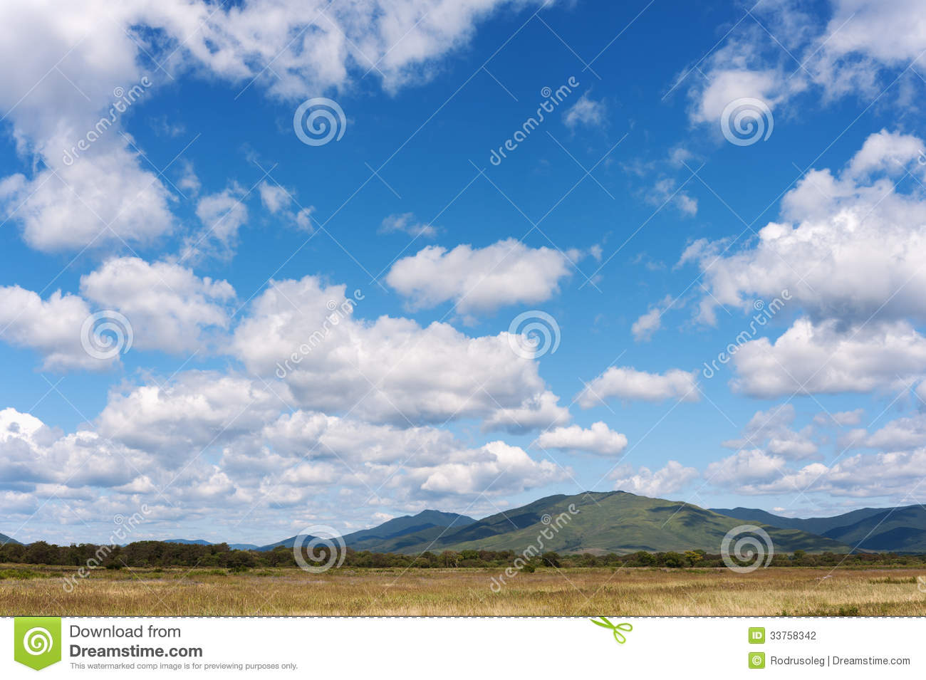 Landscape With Mountain Views Blue Sky And Beautiful