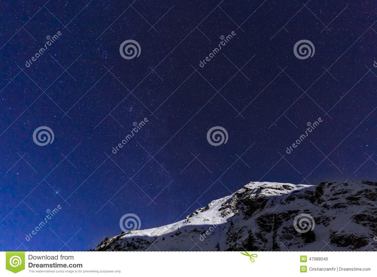 Landscape with mountains and blue sky in winter night