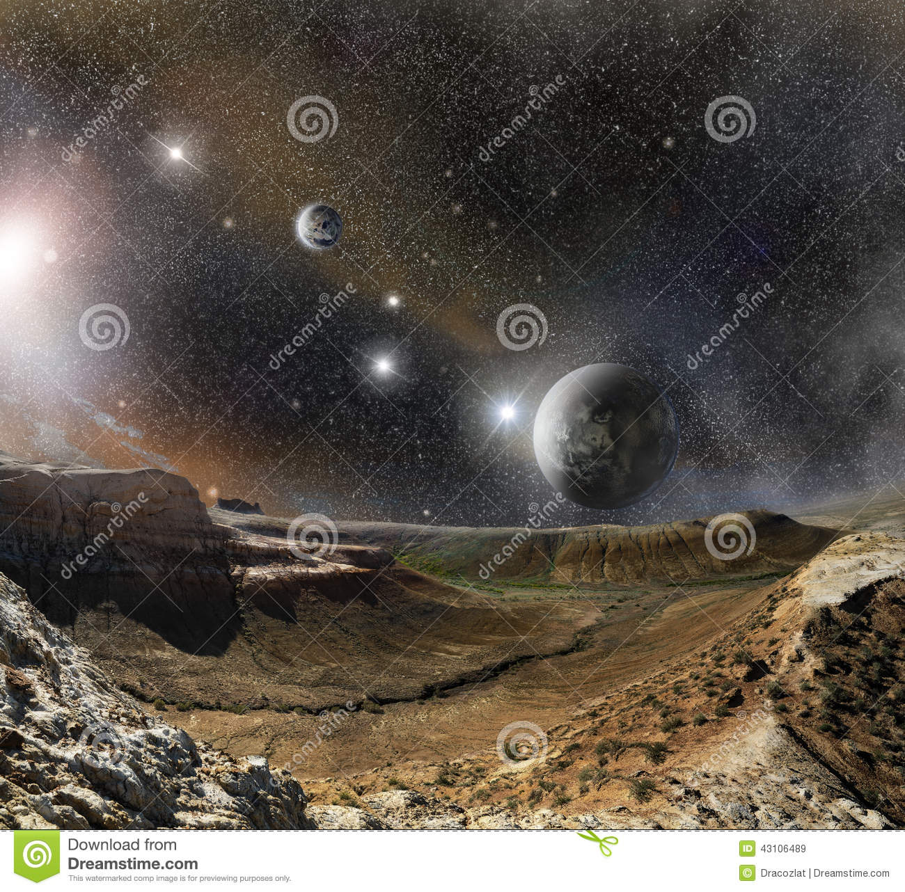 Landscape mountains and cosmos space stock illustration for Outer space landscape