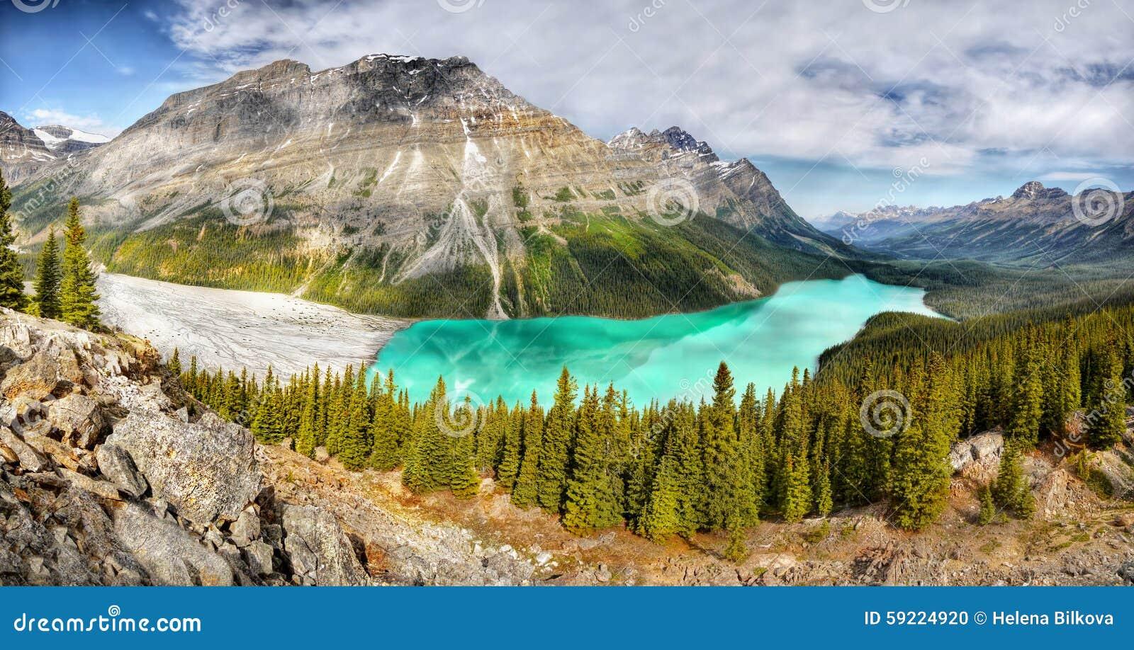 Landscape, Mountains, Peyto Lake, Panorama, Canada