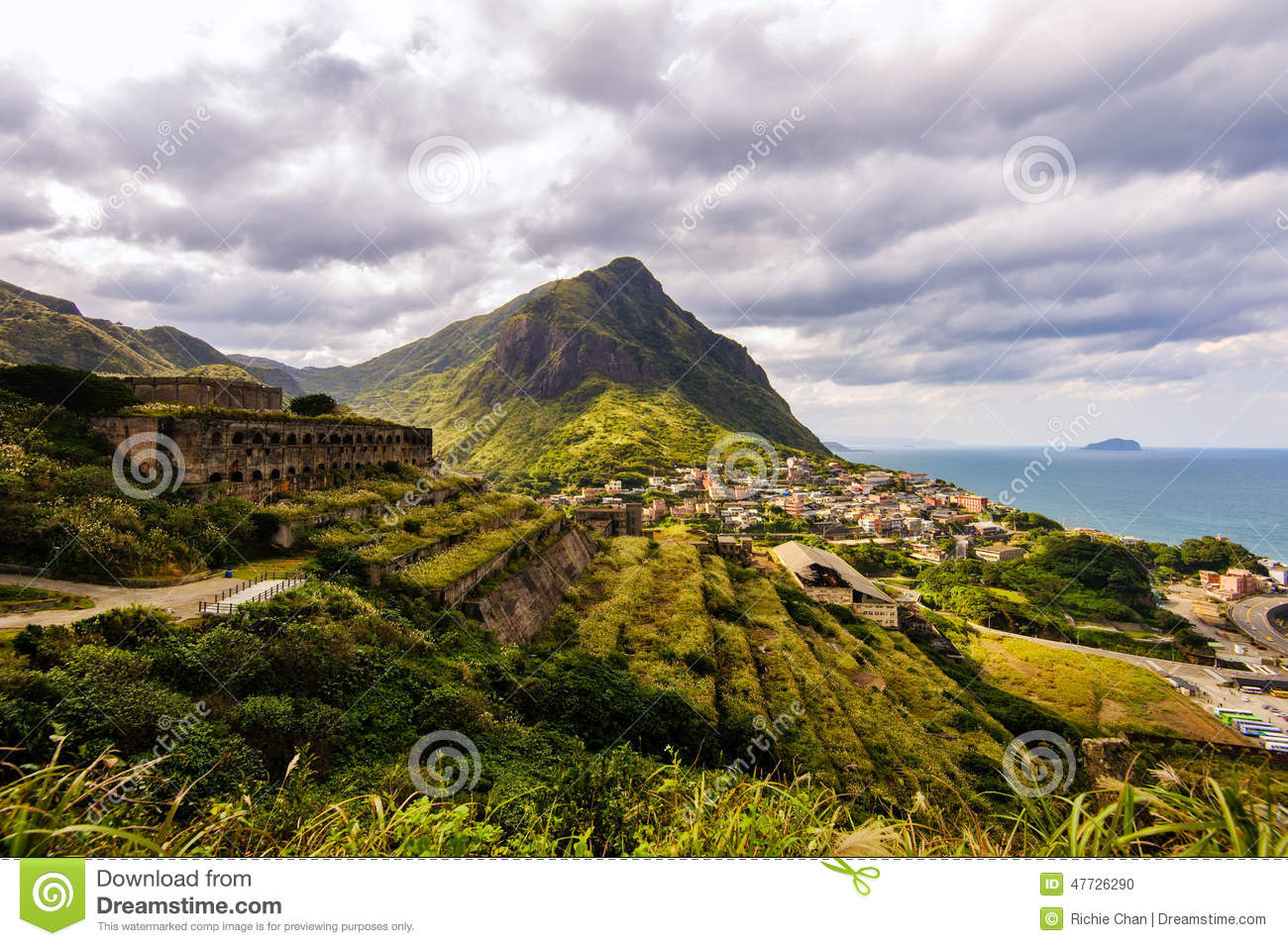 Landscape of mountains with ruins