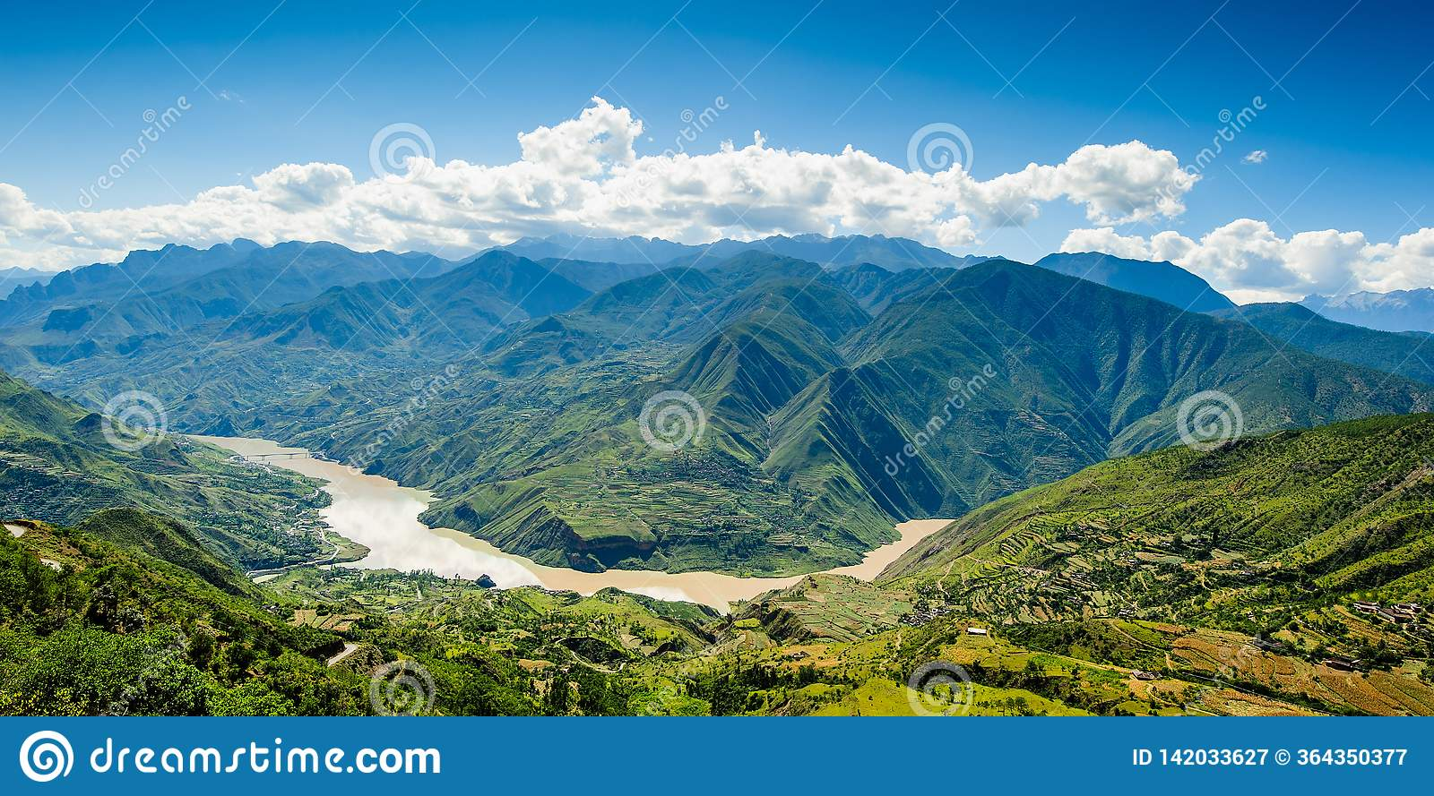 landscape with mountainside and changjiang river in highland