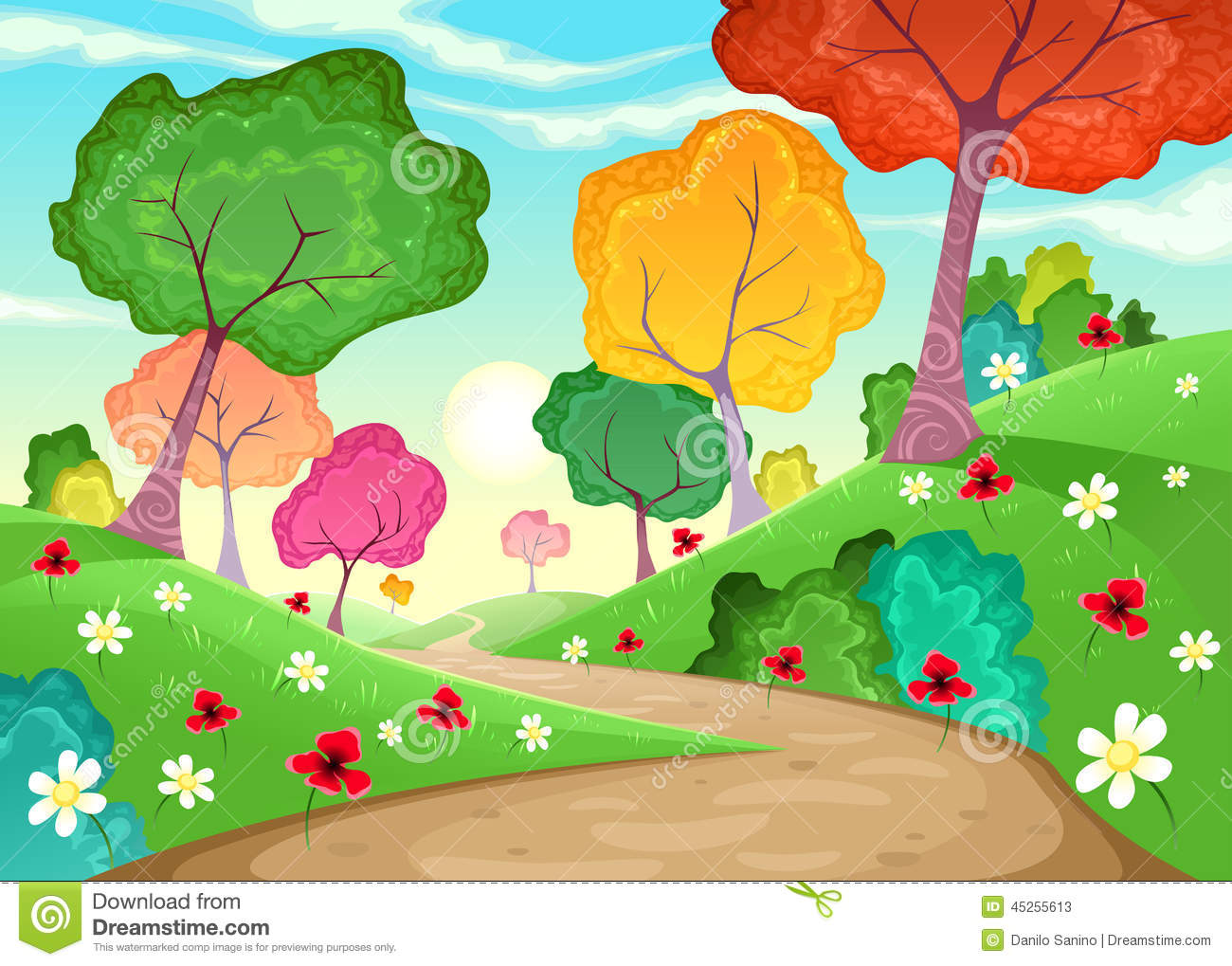 Landscape With Multi Colored Trees Stock Vector Illustration Of