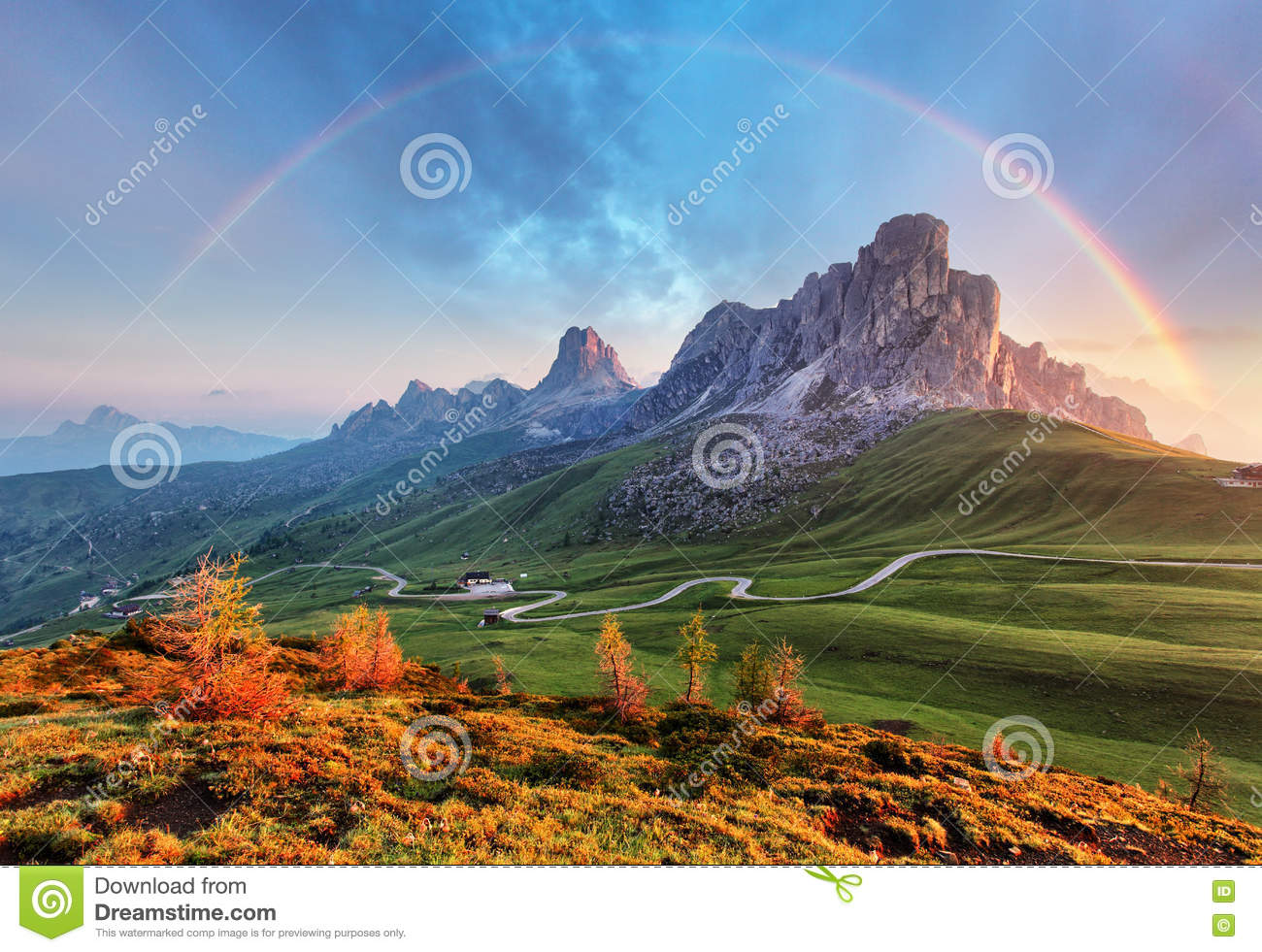 Landscape nature mountan in Alps with rainbow