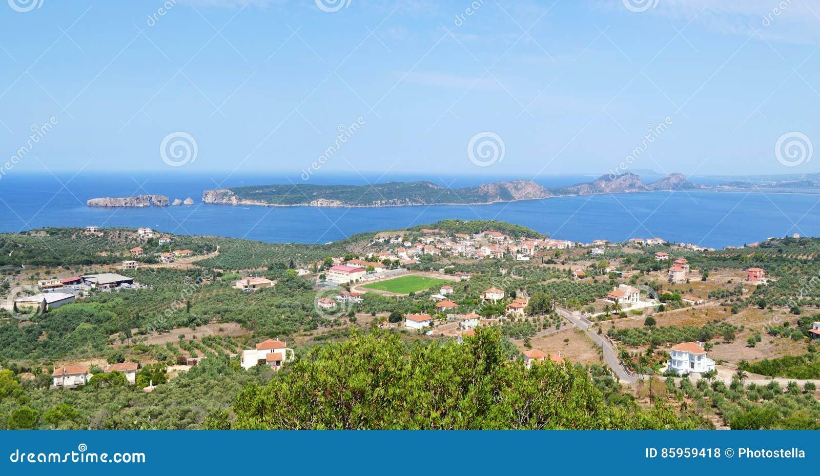 Landscape of Navarino bay and Sphacteria island Peloponnese Greece