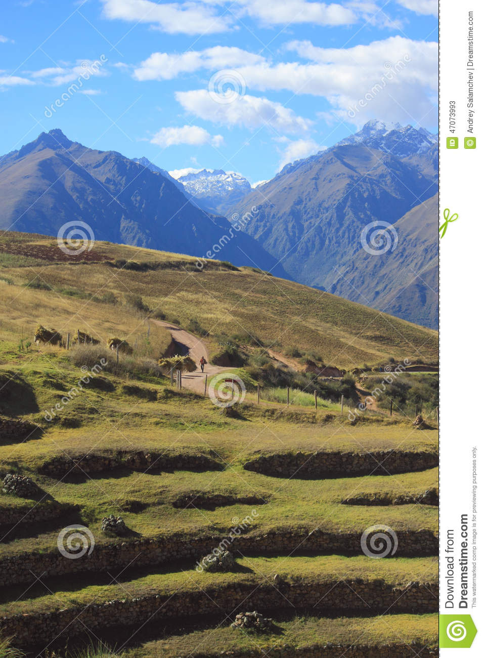 Landscape Near Ancient Inca Circular Terraces At Stock
