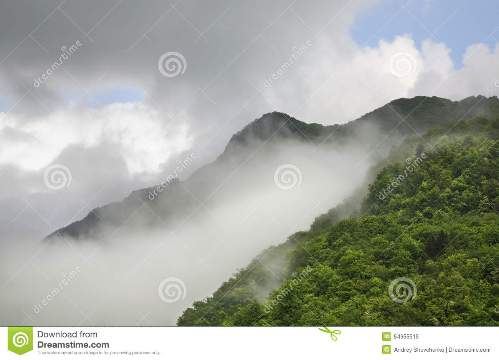 Landscape near Kobarid. Clouds. Slovenia