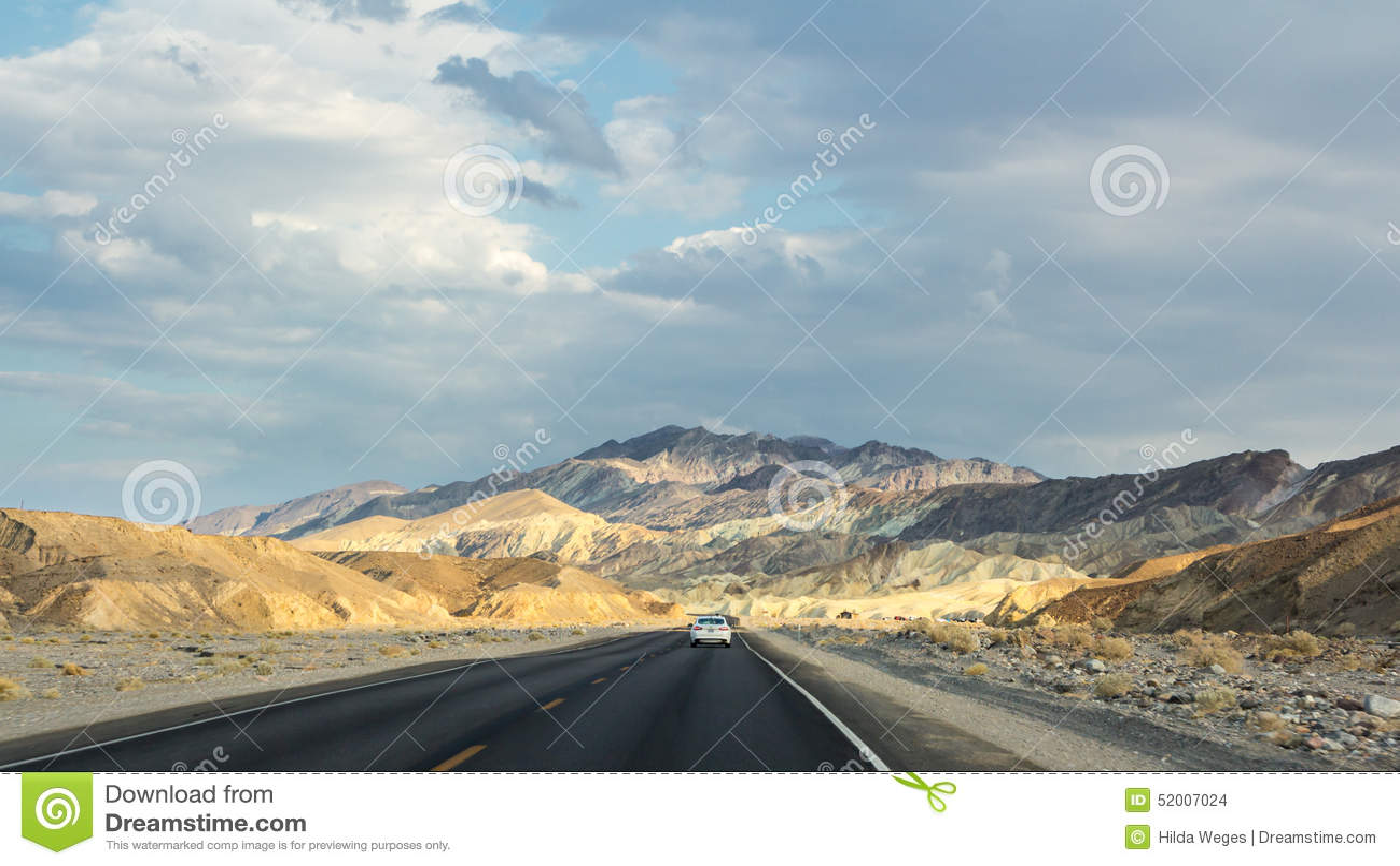 Landscape near Zabriskie point during sunset in Death Valley NP US