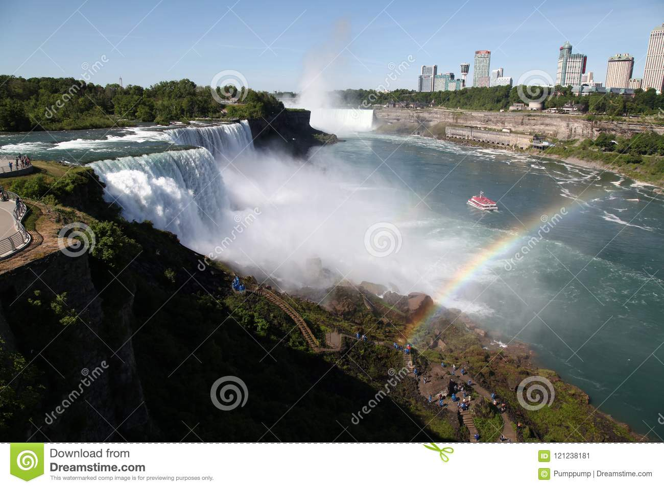 Landscape Niagara Falls From American Side Have Rainbow
