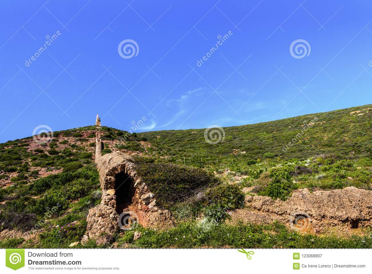 Landscape with nuraghic building / battlements in southeast Sardinia, Italy