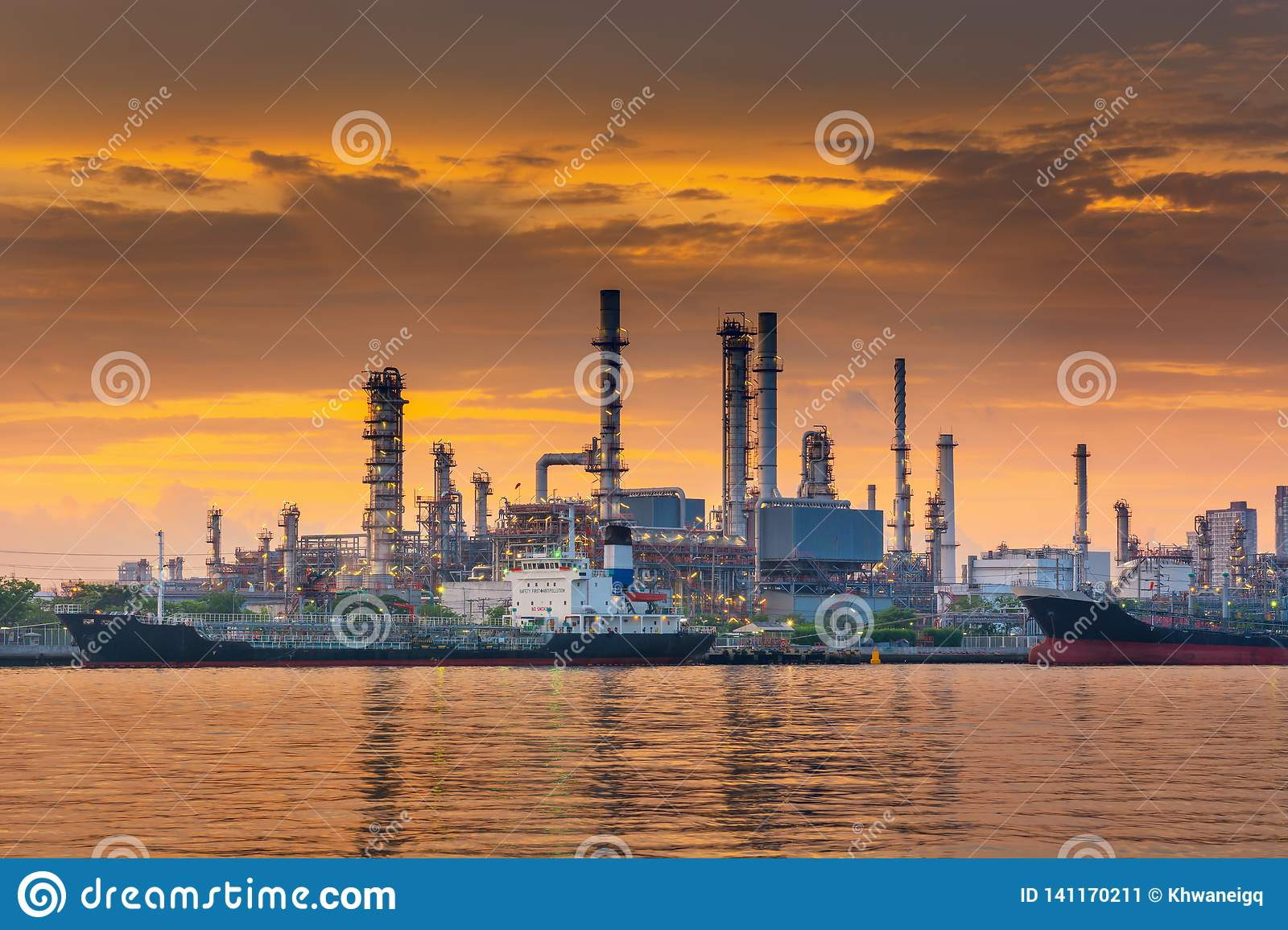 Landscape of Oil and Gas Refinery Manufacturing Plant., Shipping Dock and Chemical Distillation Process Buildings., Factory of