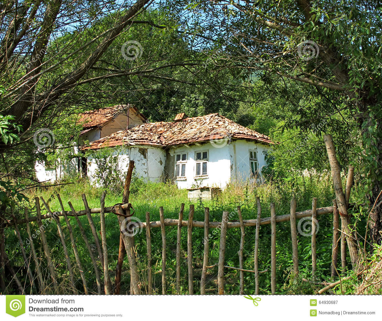 Landscape Of An Old Country Farmhouse Stock Photo Image 66134065