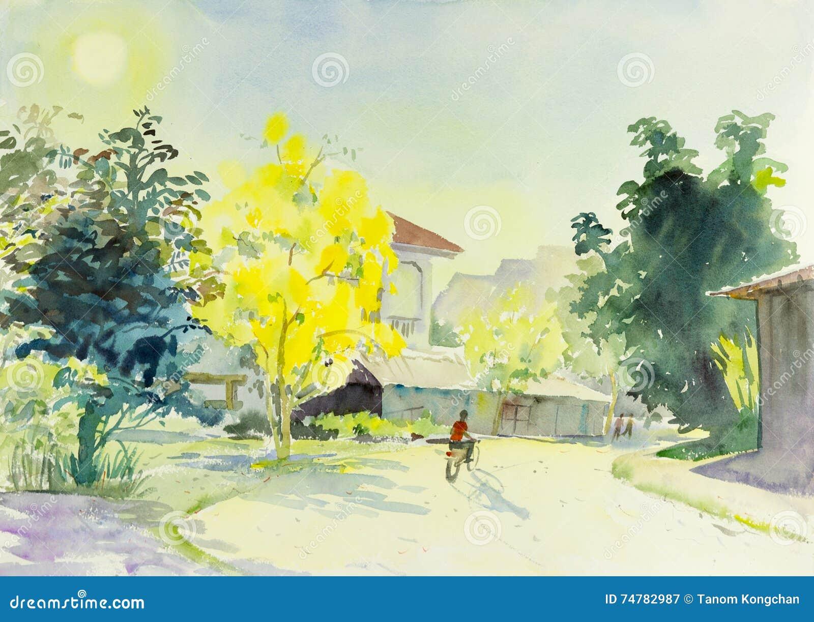 Landscape Original Colorful Of Golden Flower Tree And Emotion Stock ...