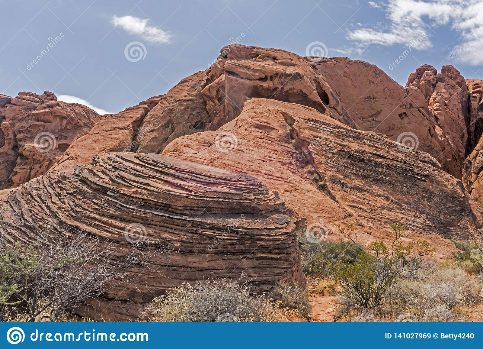 Landscape Of Painted Rocks And Boulders In Red Rock Canyon  Stock