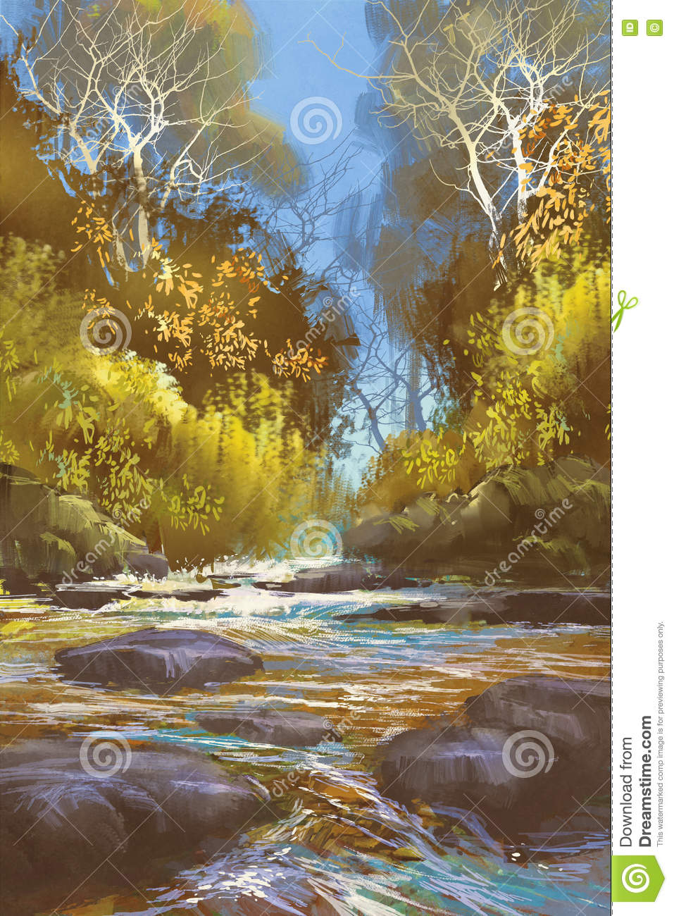 Landscape painting of creek in forest