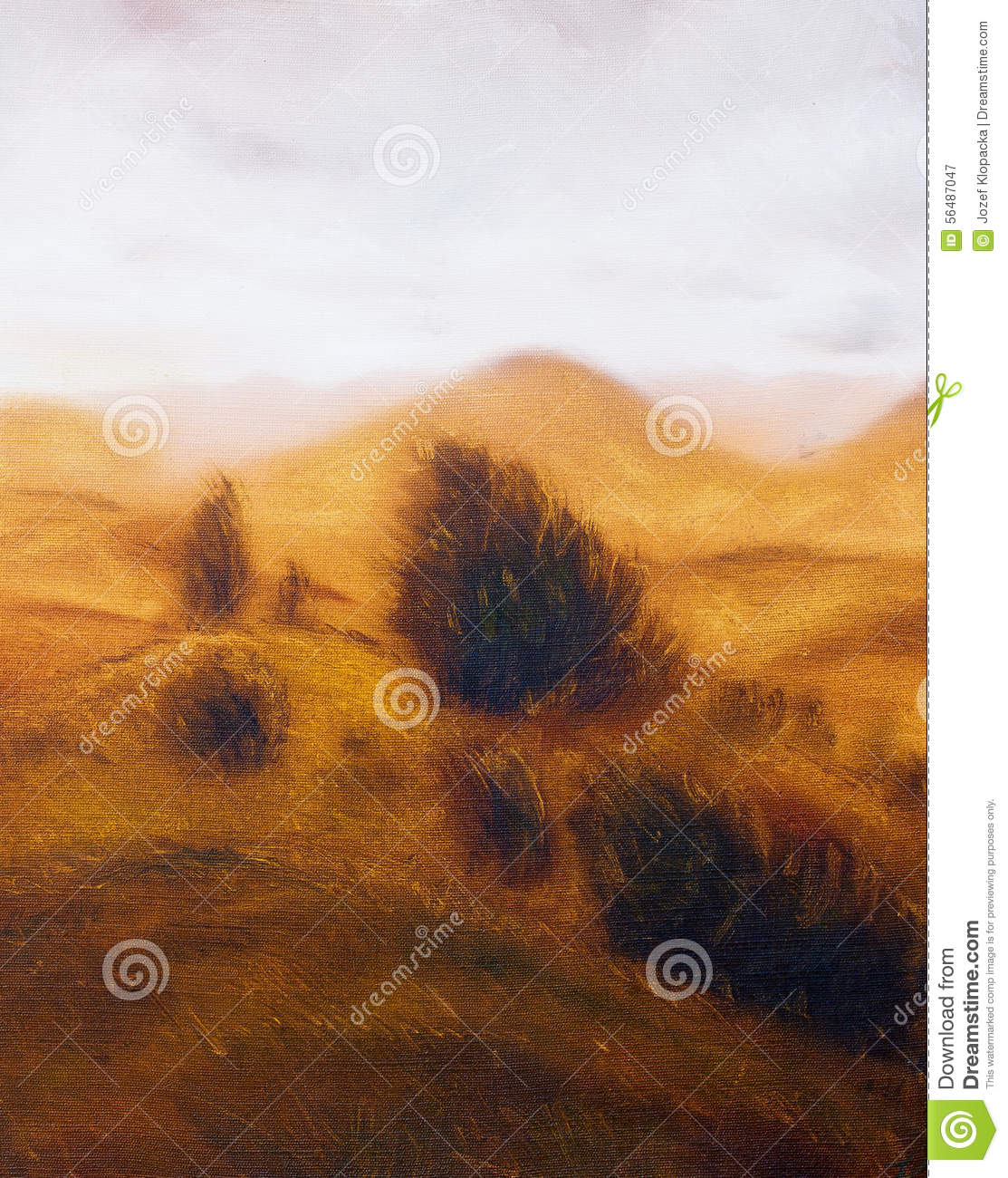 Landscape painting. Miscellaneous and trees. Mountains in the background