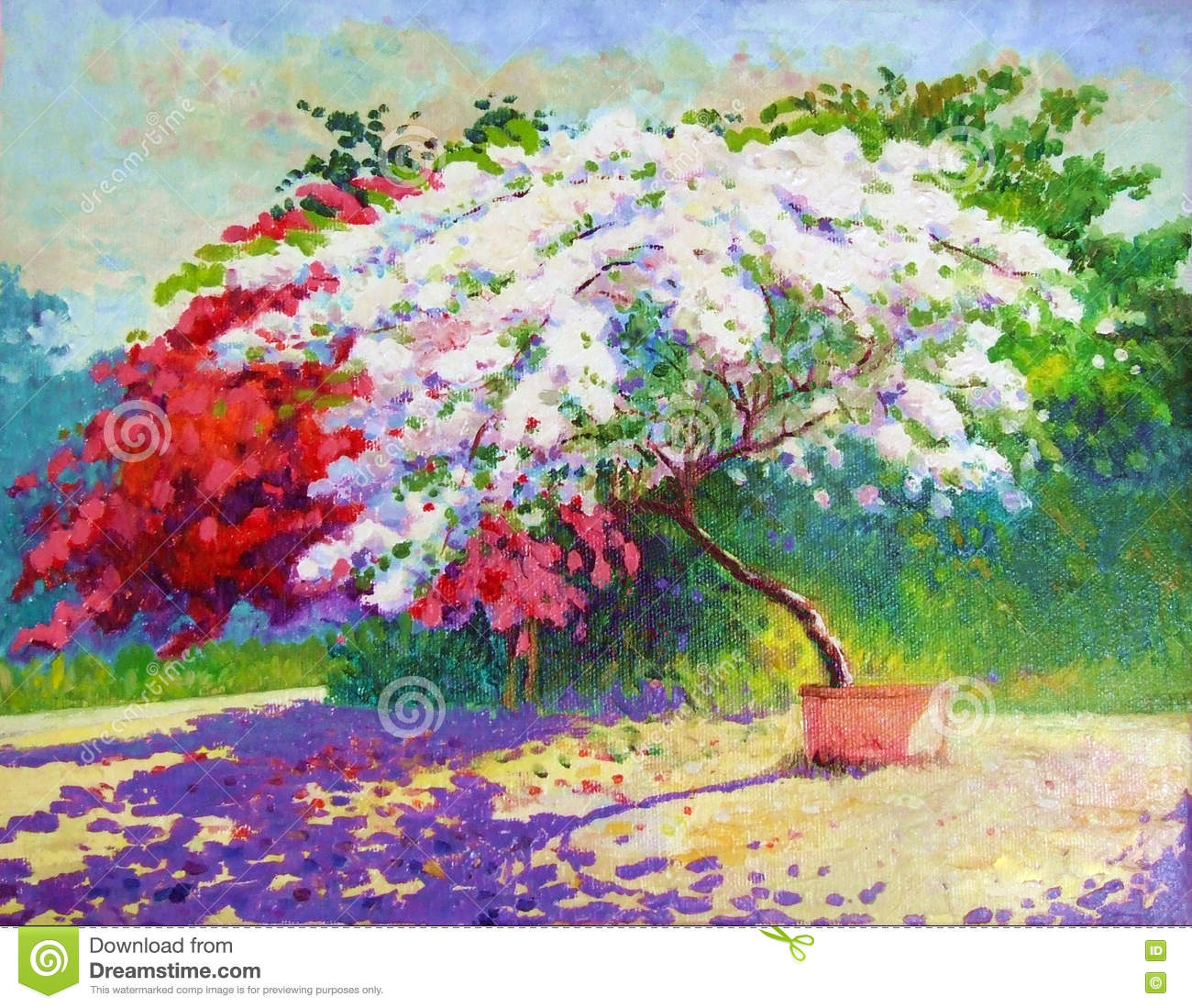 Landscape Painting Red And White Color Of Paper Tree Flower Stock