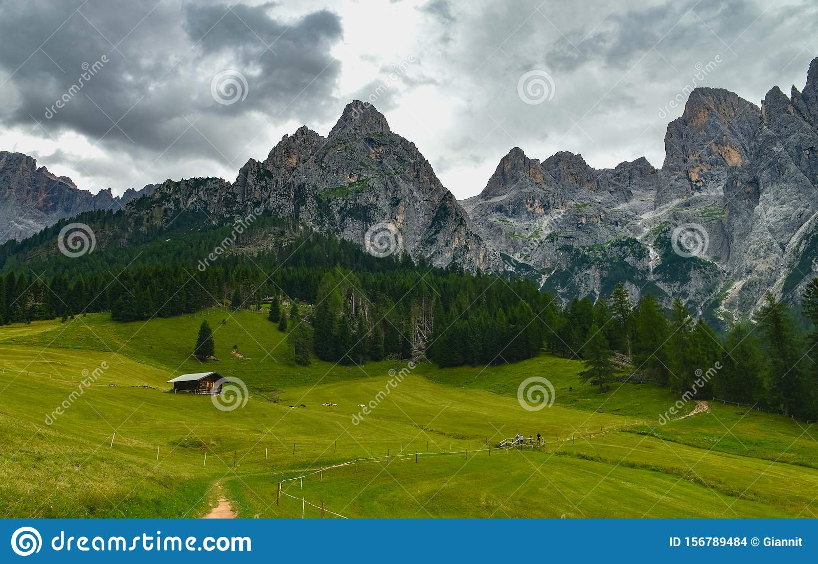 Landscape Of Pale Di San Martino Dolomites Italy Stock Photo