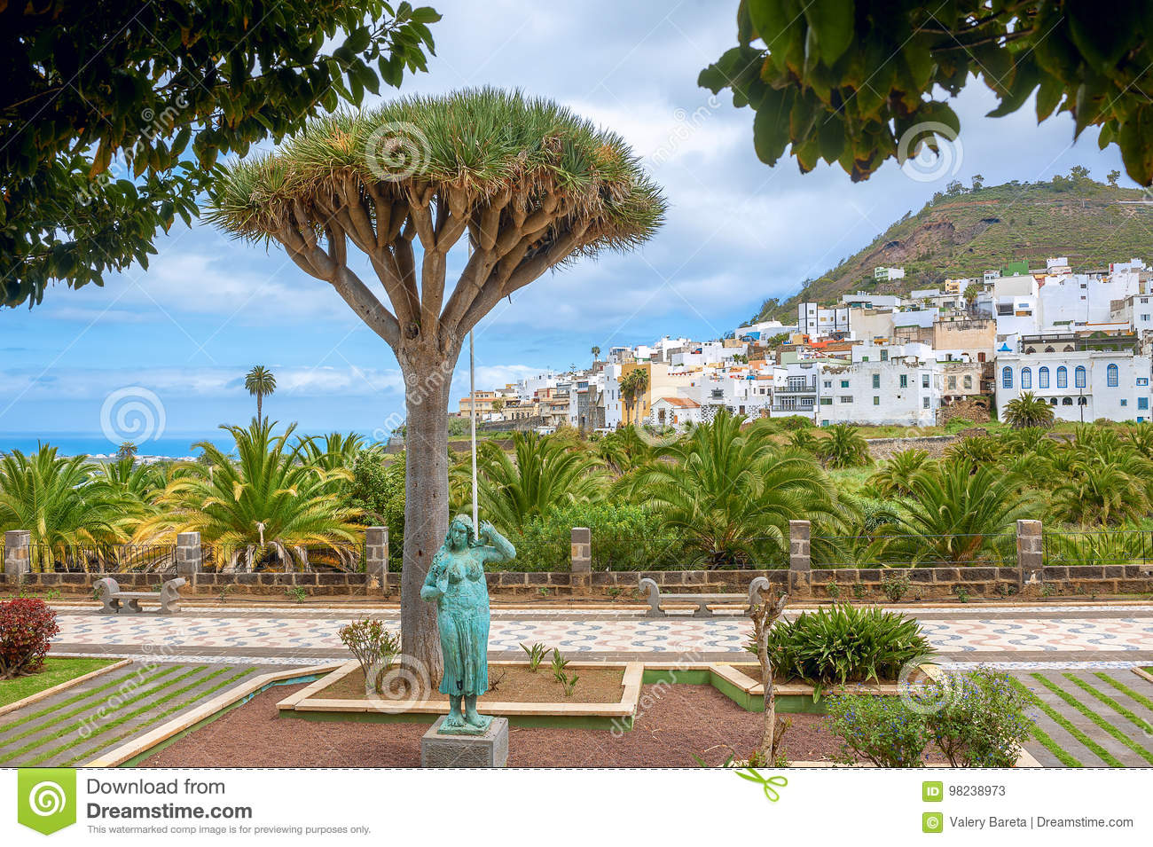Landscape With Palm Park And Residential District In Las Palmas Gran Canaria Spain Stock Image Image Of Historic Cityscape 98238973